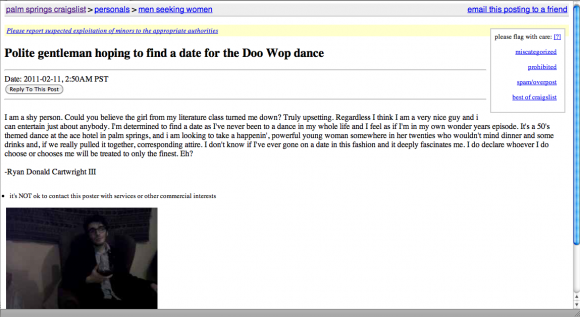 Best Thing On The Internet A Craigslist Love Chirp The Coachella