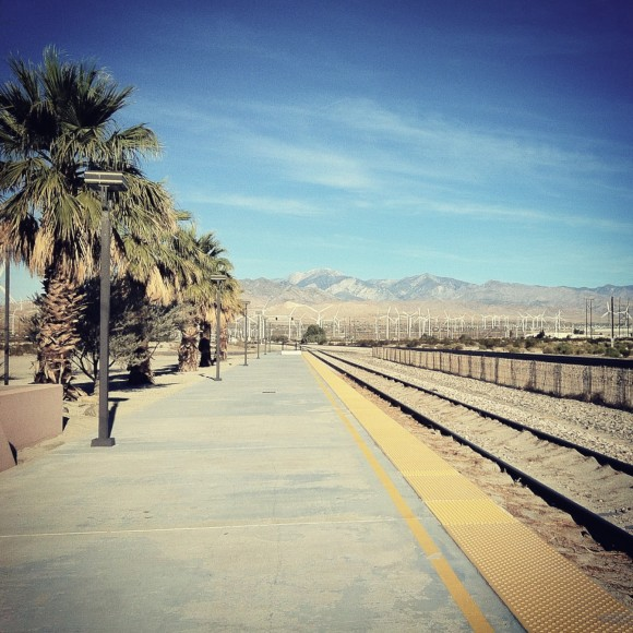 a trip on the Amtrack from Los Angeles to Palm Springs  - a story by Sarah Scheideman