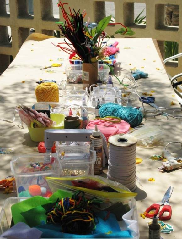 the coachella valley art scene's free craft table at party at birba in palm springs, ca