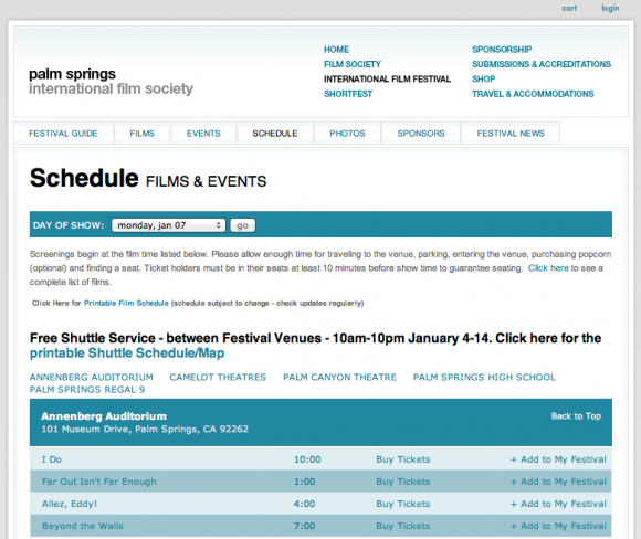palm springs international film festival time schedule