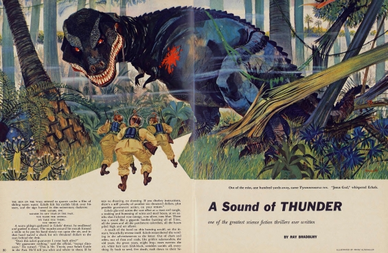 sound of thunder describing dinosaur Bradbury painted that scenario in his 1952 story, a sound of thunder  the  dinosaur had been fated to die, but the insect's untimely demise.