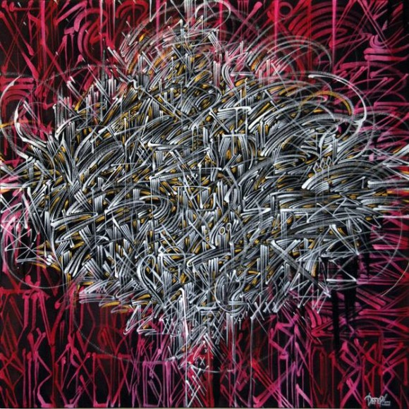 """Ultra Magnetic By DEFER 36"""" x 36"""" Acrylic on canvas, 2013"""