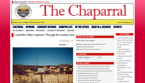 The Coachella Valley Art Scene interviewed in College of the Desert newspaper the chaparral
