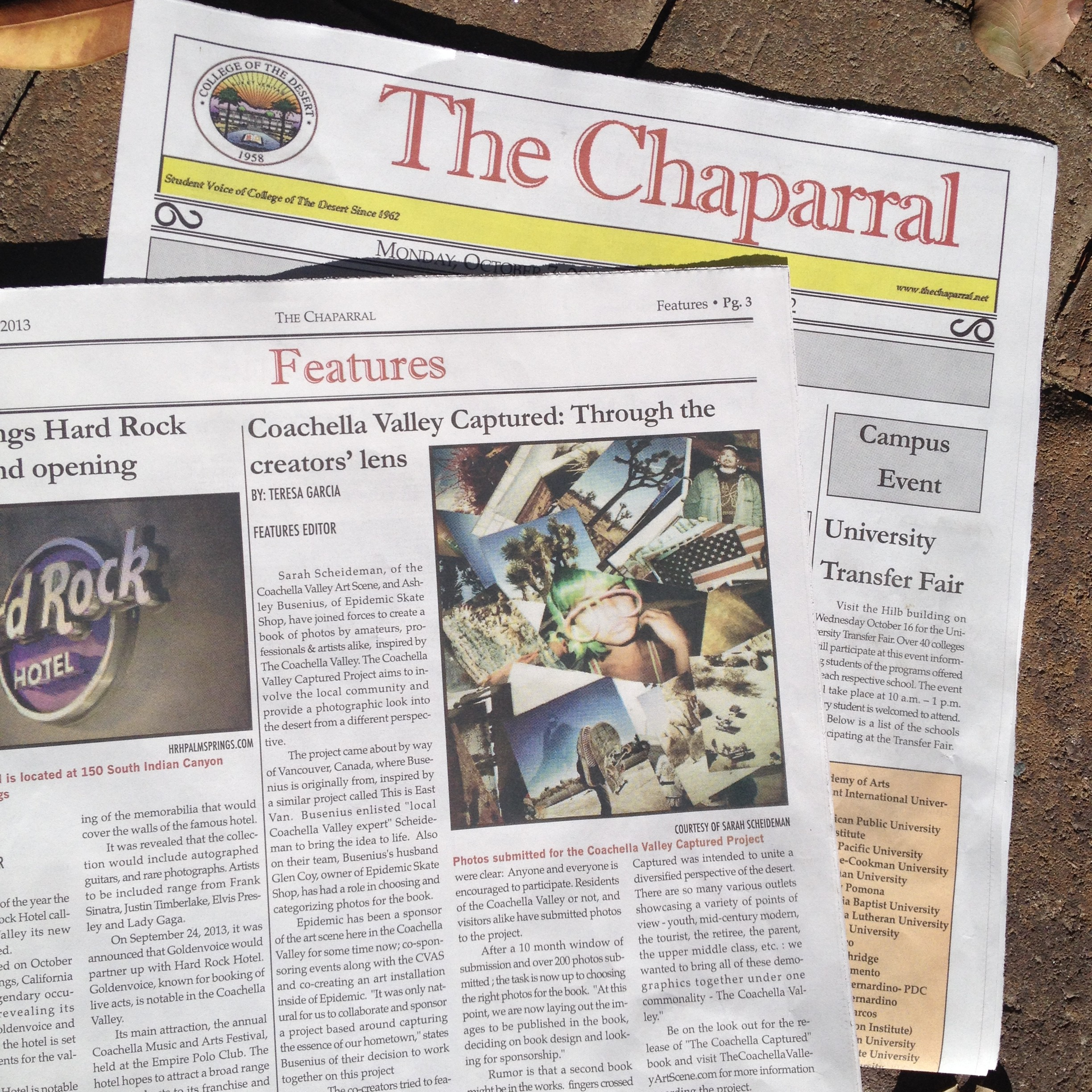 The Coachella Valley Art Scene gets interviewed by College of the Desert newspaper The Chaparral