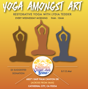 Yoga Amongst Art at the coachella valley art scene in cathedral city