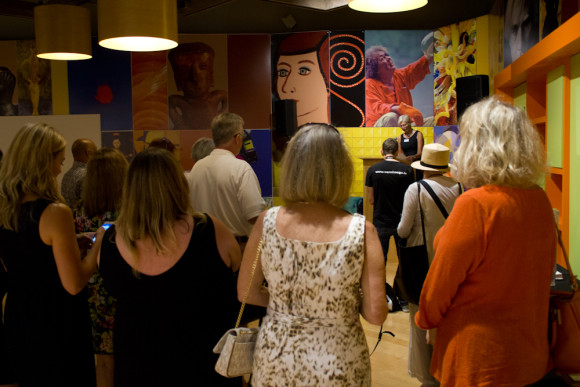 Elizabeth Armstrong speaks at Opening of Killer Heels art exhibition at the Palm Springs Art Museum