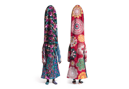 Nick Cave, Soundsuit (front and back views), 2010, mixed media, © the artist and Jack Shainman Gallery, New York, collection of Helene Gallen