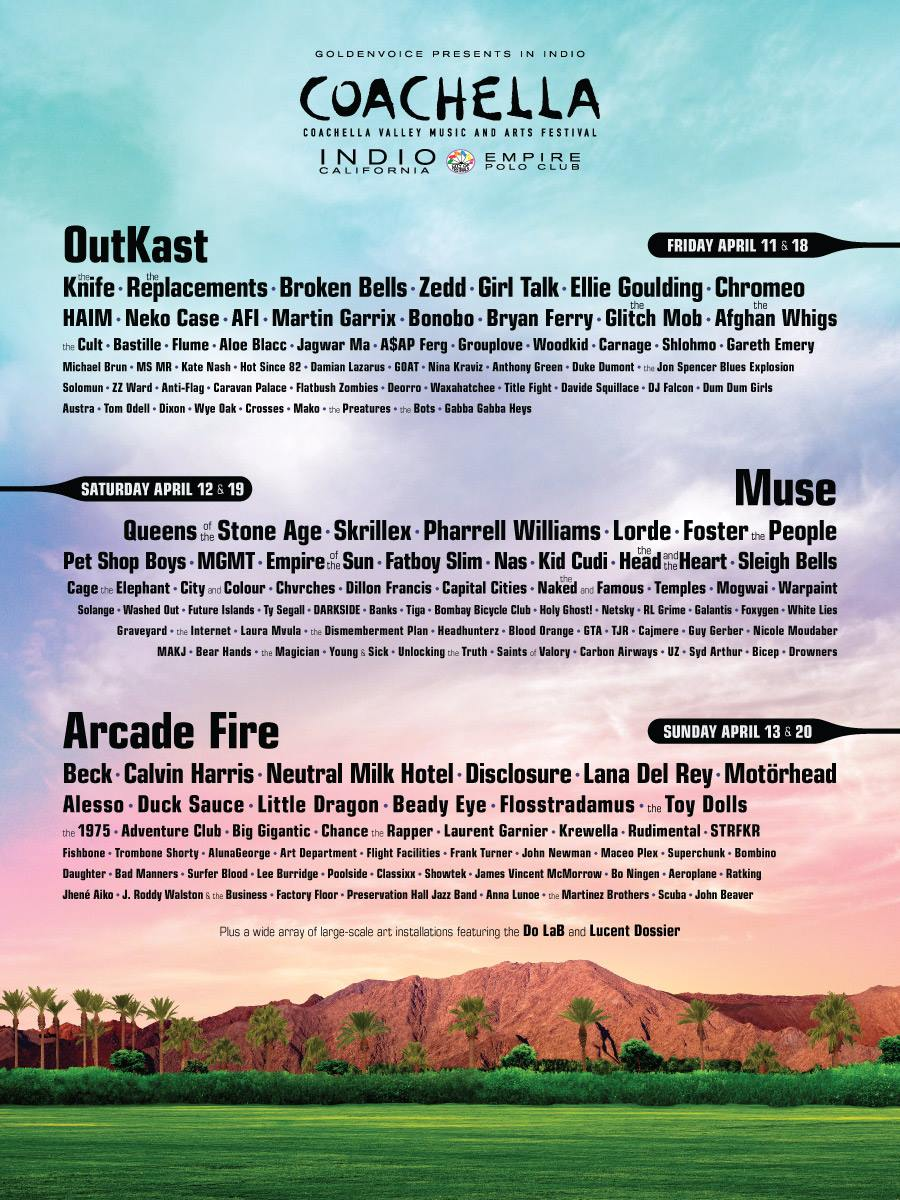 coachella fest line up , coachella valley music and arts festival, indio ca